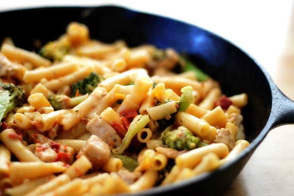 chicken broccoli pasta skillet w/ parmesan