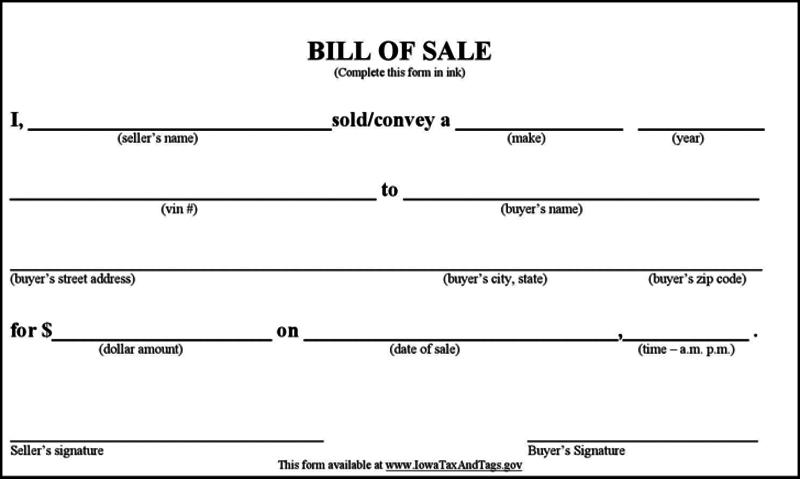 simple bill of sale vehicle
