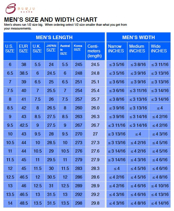 use the shoe width chart and get your perfect size shoe