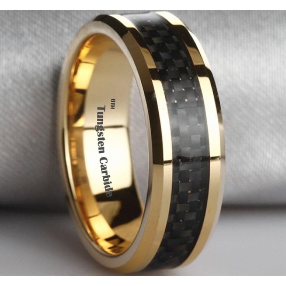 tungsten carbide wedding bands Black Tungsten Carbide Wedding Band Ring Mens Jewelry