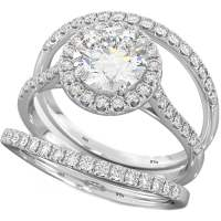 3 Pieces Round-Cut Wedding Engagement Bridal Ring Set
