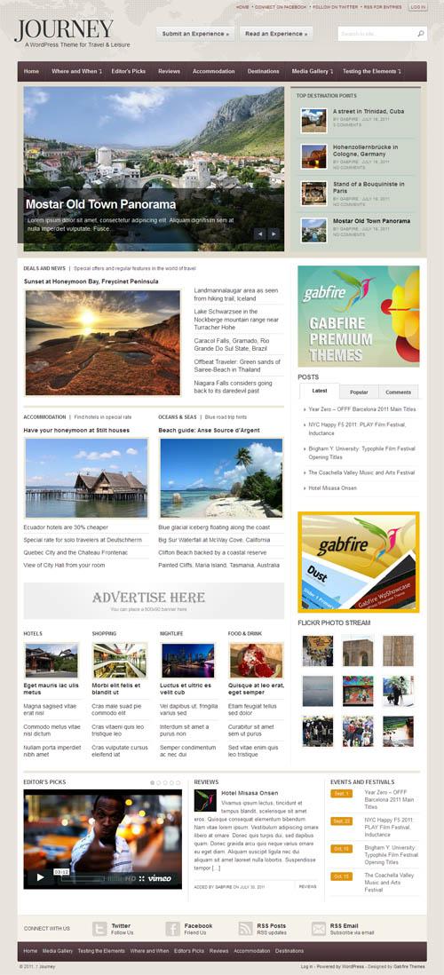 Journey Travel Magazine WordPress Theme from Gabfire Themes Best - wordpress travel themes