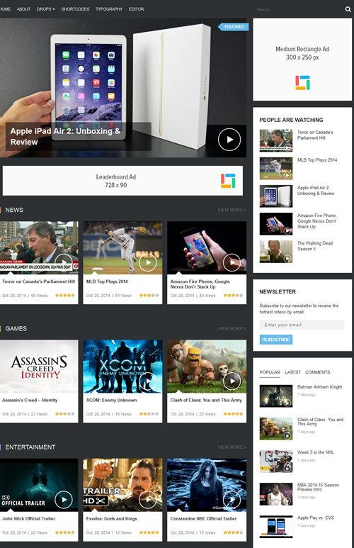 Responsive Video WordPress Theme \u2013 VideoZ Best WordPress Themes