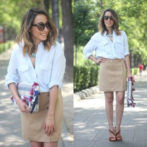 Beige skirt & Blue shirt #shirt #skirt #beige @dayadayoficial #bag…