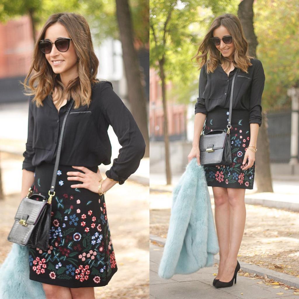 Nuevo post en el blog con falda negra con bordadoshellip