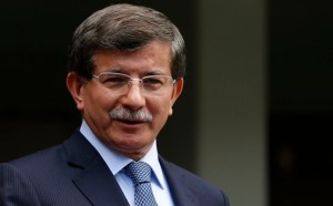 Turkey's Foreign Minister Davutoglu addresses the media in Ankara