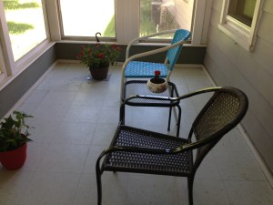 our sunroom, where I watch the birds each morning with my coffee or chai