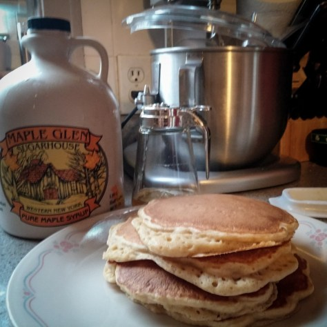 Pancakes from scratch w/ hand ground red & white wheat flour