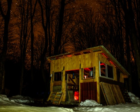 Sugar shack working into the night