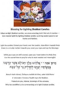 | Blessing for Lighting Shabbat Candles