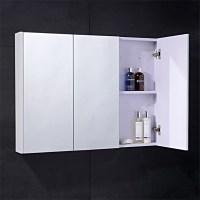 Windsor / Cuba / Aspen 90cm 3 Door White Mirror Cabinet