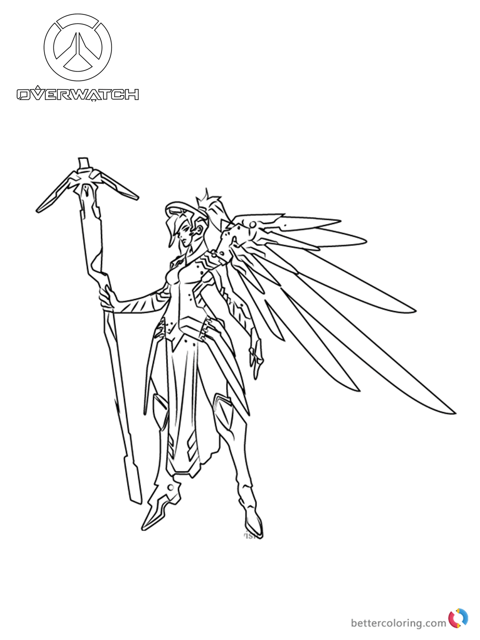 Black And White Wallpaper Pictures Mercy From Overwatch Coloring Pages Free Printable