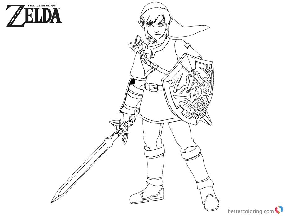 Legend Of Zelda Link Coloring Pages - Eskayalitim