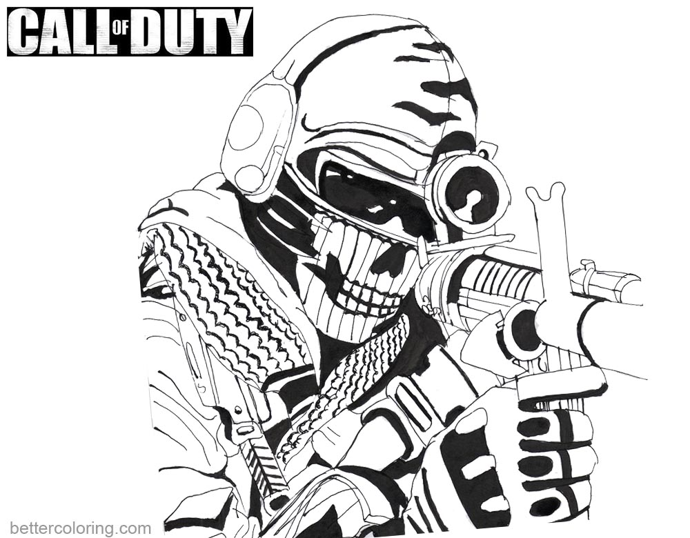 Call Of Duty Coloring Pages Ghost By Kopale Free