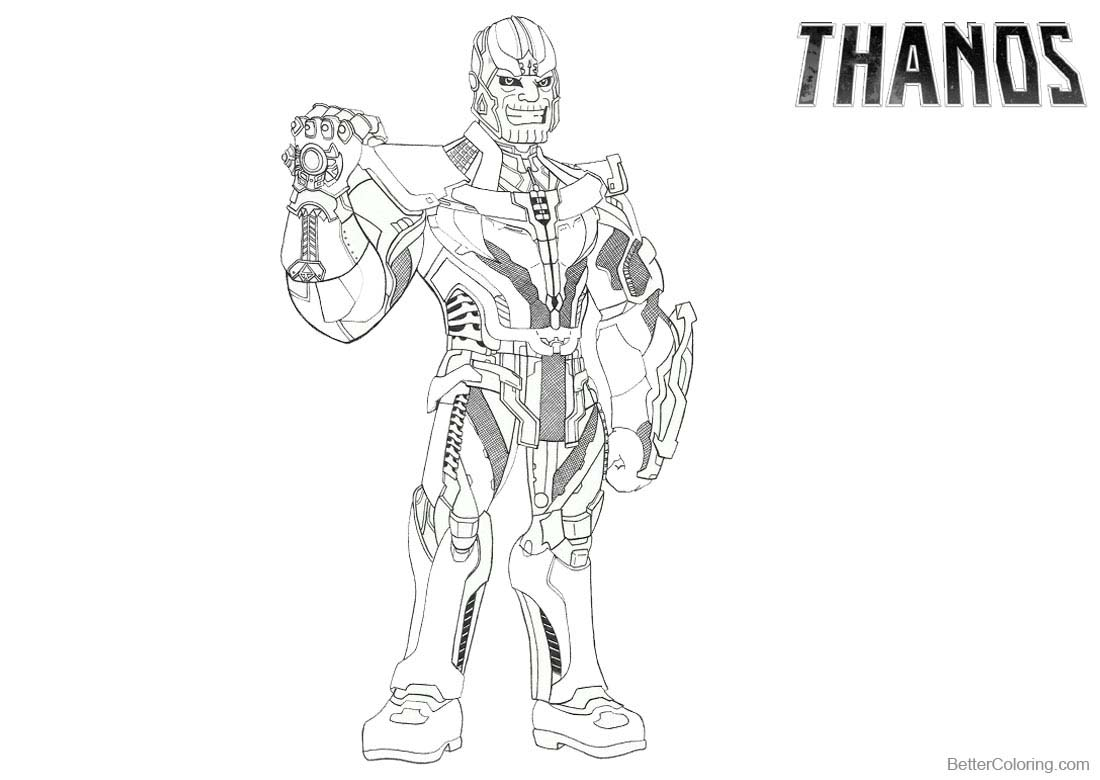 Beautiful Avengers Infinity War Coloring Pages Thanos By