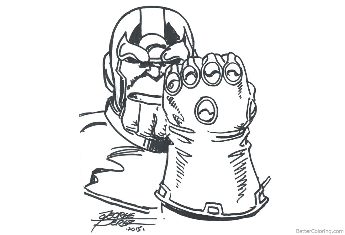 Comfortable Avengers Infinity War Coloring Pages Thanos By George