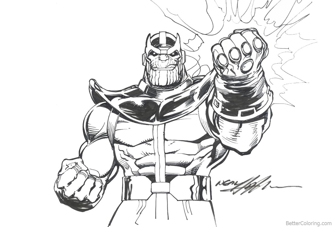 Cozy Avengers Infinity War Coloring Pages Thanos By Neal Adams