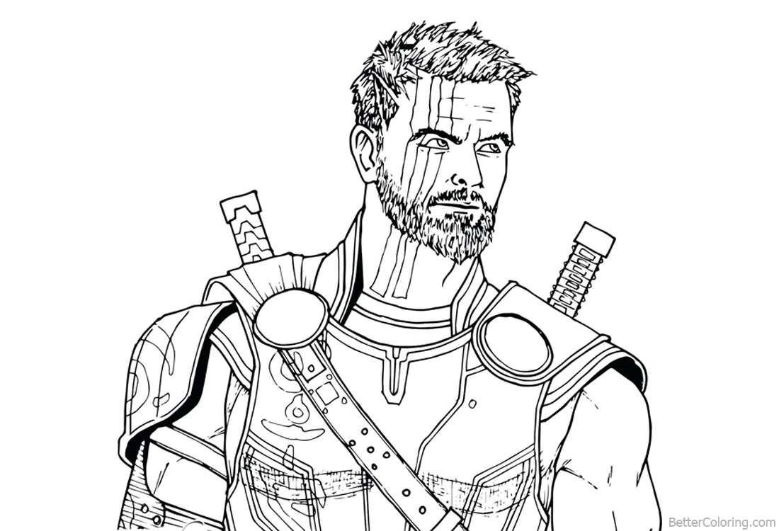Avengers infinity war coloring pages thor drawing free