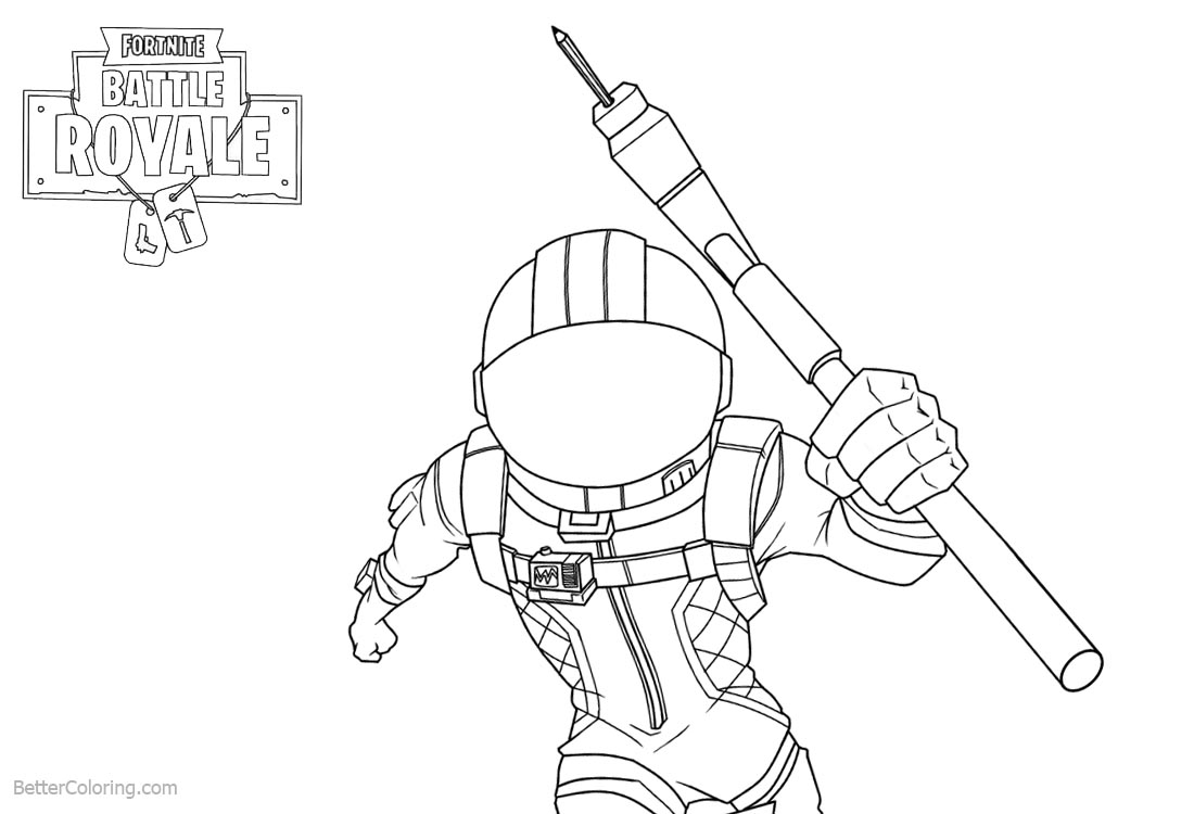 Amazing Fortnite Coloring Pages Characters Line Drawing Black And