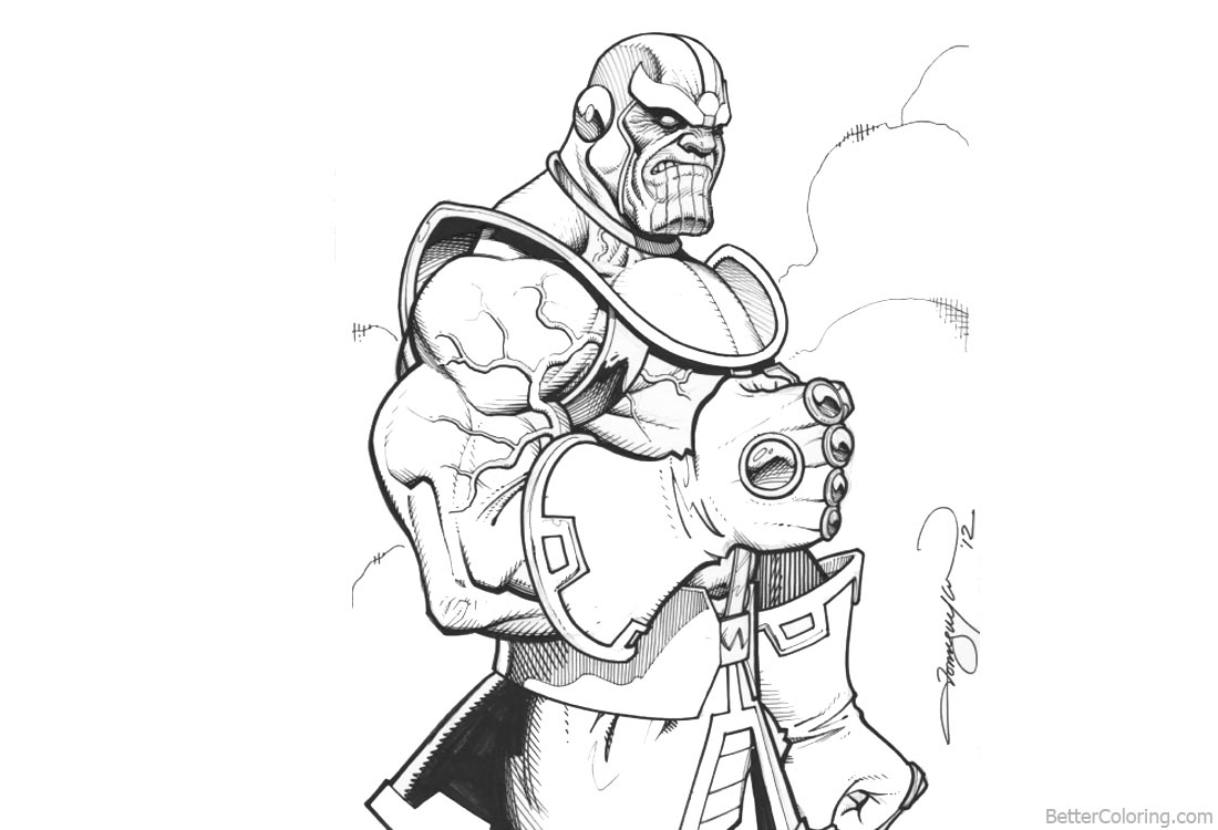 Beautiful Thanos Infinity Gauntlet Gloves Drawing Coloring Pages How