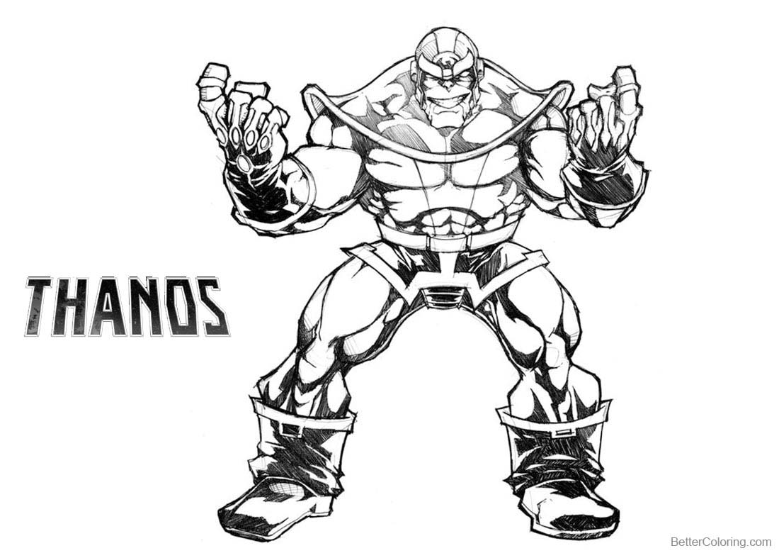 thanos from avengers coloring page
