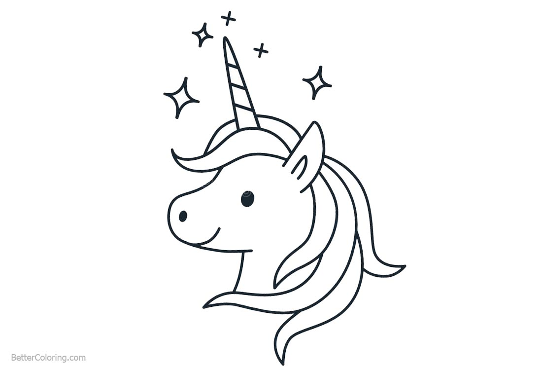 Unicorn coloring pages head clipart free printable