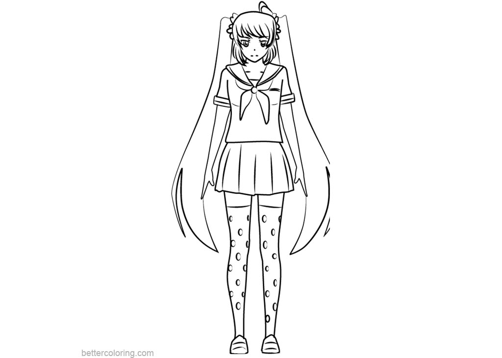 yandere simulator coloring pages Amazing Yandere Simulator Coloring Pages Osana Najimi Free  yandere simulator coloring pages