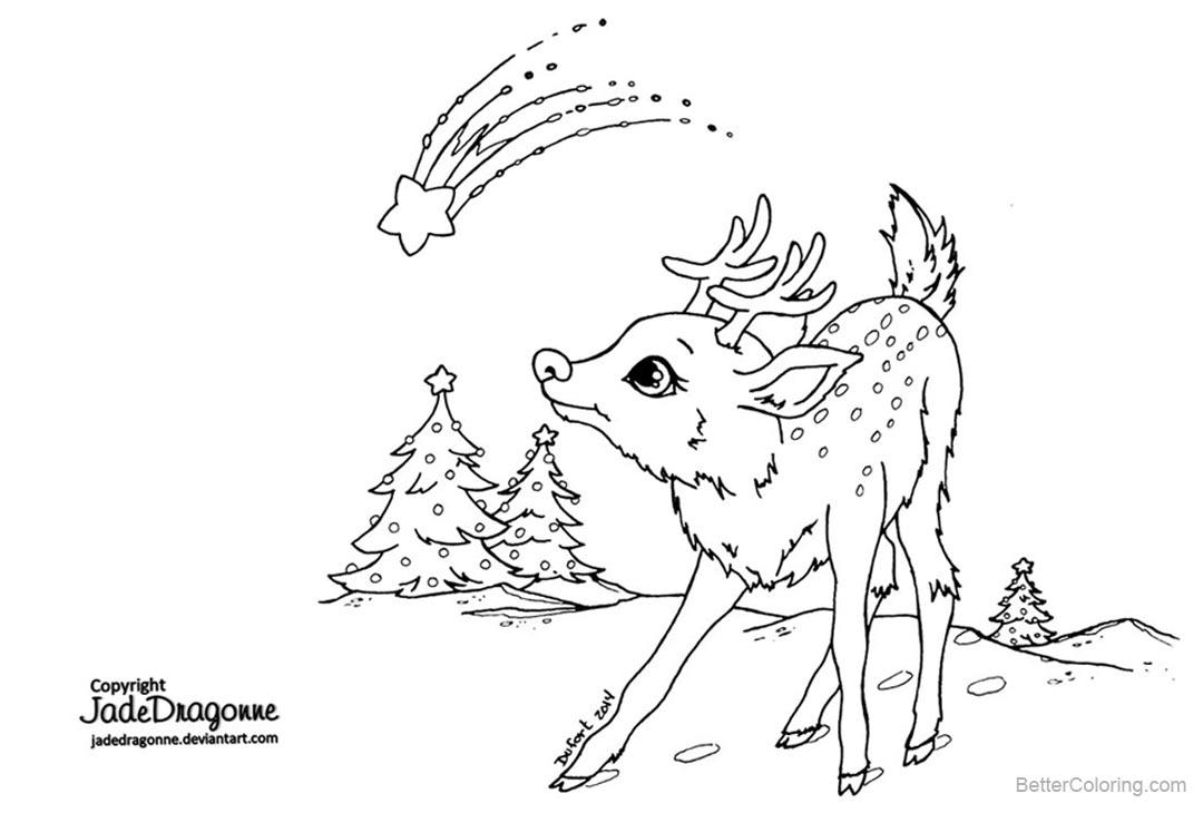Christmas Reindeer Coloring Pages By Jadedragonne Free
