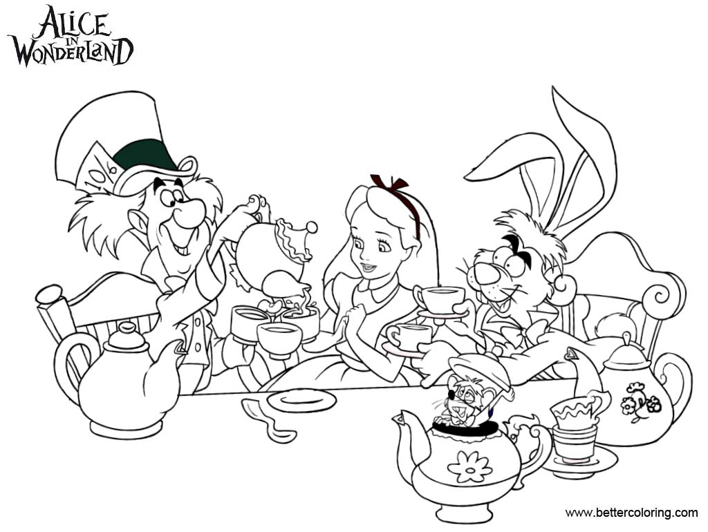 Alice In Wonderland Tea Party Coloring Pages Free