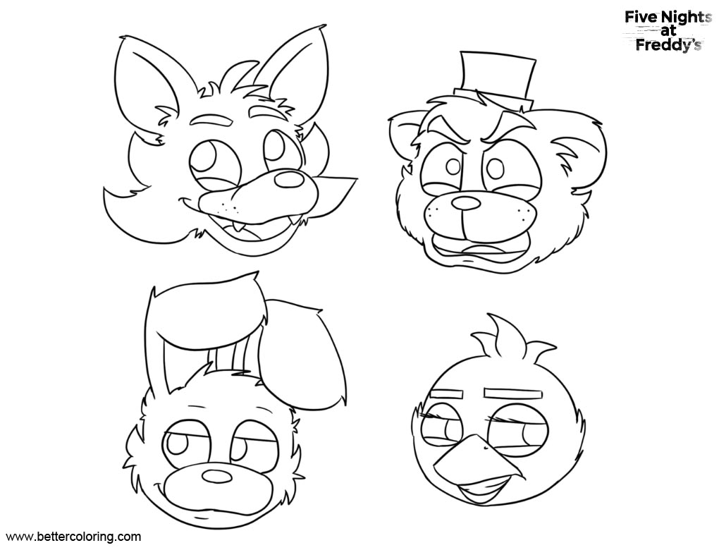 f naf all characters coloring pages coloring pages auto electricalfnaf coloring pages five nights at freddys bonnie foxy