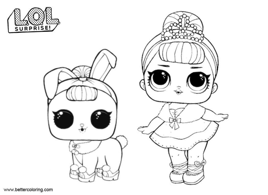Lol surprise pets coloring pages crystal queen and bunny