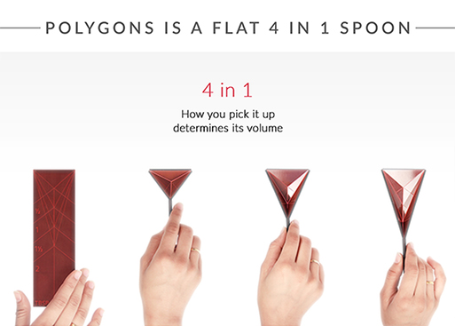 Polygons Flat 4-in-1 Measuring Spoon