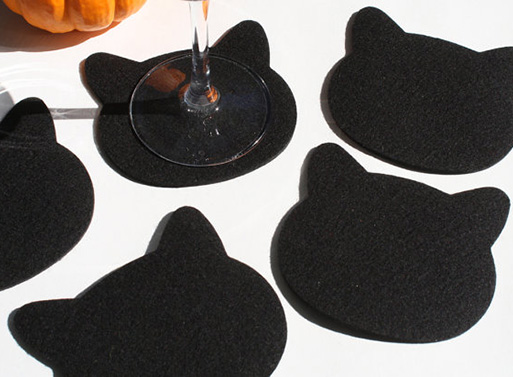 Black Cat Felt Coasters