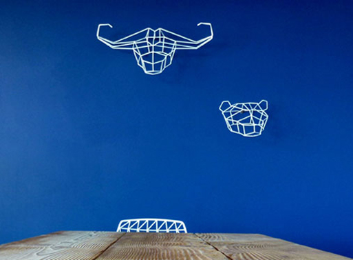 Geometric Animals blue wall
