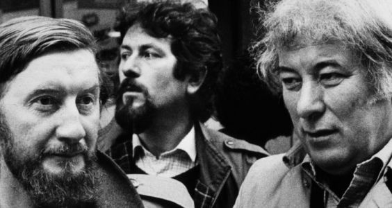 Seamus Heaney in Dublin, 1985, protesting against the South African government