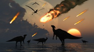 Hadrosaurs graze peacefully as burning meteors fall through the sky.