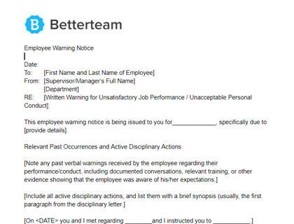 Employee Warning Notice Word+PDF