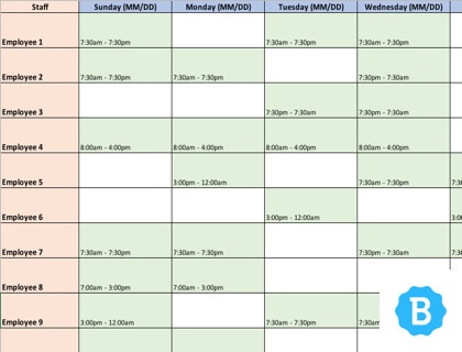 excel employee scheduling template - Canasbergdorfbib