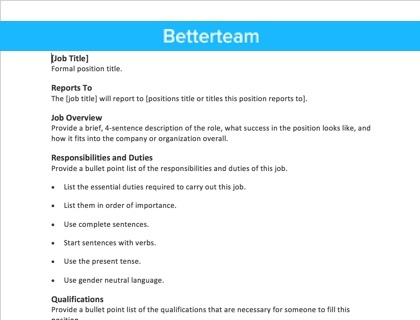 Free Job Description Template - Fast, Simple Copy + Paste - job duty template