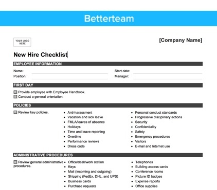 The Ultimate New Hire Checklist - How to Onboard Right - new hire checklist template