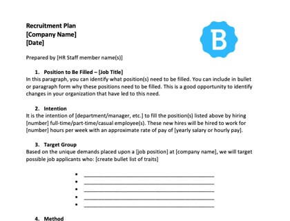 Developing an Employee Recruitment Plan with free template