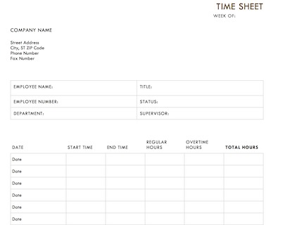 Timesheet Template - Free Download for Word, Excel and PDF - free timesheet forms
