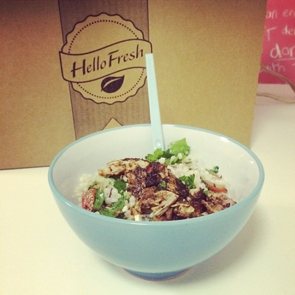 #hellofresh Cajun chicken with feta and pearl couscous