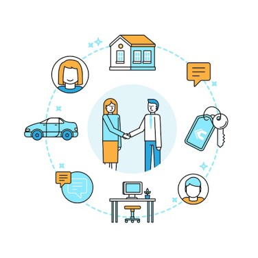 Vector illustration in trendy flat linear style - sharing economy and collaborative consumption concept and infographic design elements - peer to peer lending and renting - carsharing, coworking, coliving