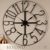 Large Wall Clock 100cm NUMBERS Metal Industrial Iron ...