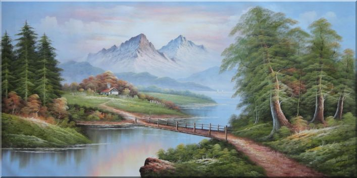 Animated Waterfall Wallpaper Bridge River Mountain And Cottage Landscape Oil