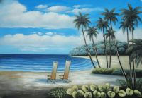 Two Chairs at the Hawaii Beach with Palm Trees Oil ...
