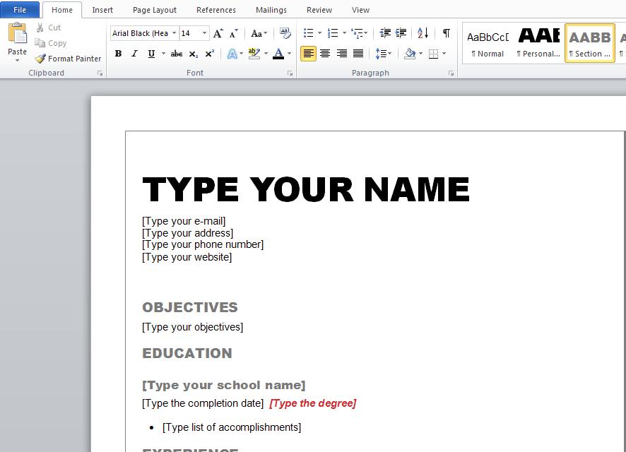 edit my resume