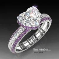 Silvet Amethyst Engagement Ring Set for Heart Shape