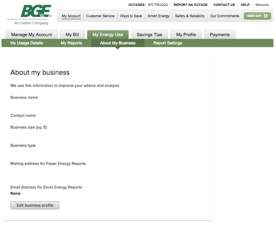 Update your Small Business Information Baltimore Gas and Electric - company profile examples for small business